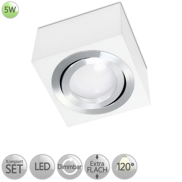 Aufbaustrahler Eckig in Weiß inkl. 5W LED flach Modul dimmbar diffuses Licht 120° HO