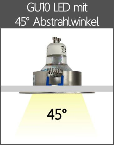 LED BAD Einbaustrahler IP44 GU10 mit Linse 45° Abstrahlwinkel
