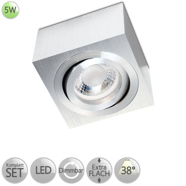Aufbaustrahler Eckig in Alu-gebürstet inkl. 5W LED flach Modul dimmbar Linse 38° HO