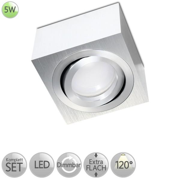Aufbaustrahler Eckig in Alu-gebürstet inkl. 5W LED flach Modul dimmbar diffuses Licht 120° HO